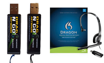 Start-Stop Drag N Go Bluetooth USB Units with Dragon Medical Practice Edition 2
