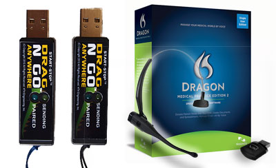 Start-Stop Drag N Go Bluetooth USB Units with Dragon Medical Practice Edition 2 and Plantronics VoxStar Wireless Headset