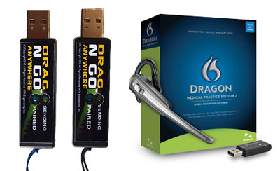 Start-Stop Drag N Go Bluetooth USB Units with Dragon Medical Practice Edition 2 and Plantronics SaviGo Wireless Headset